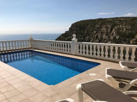Looking across the terrace and heated pool to the sea