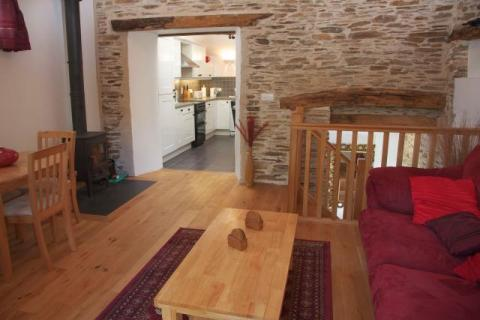 View from the living room to the kitchen in the Water Mill at East Trenean Farm