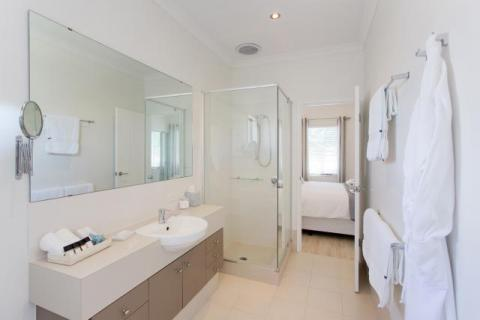 Semi ensuite bathroom.  Towels and bathrobes provided