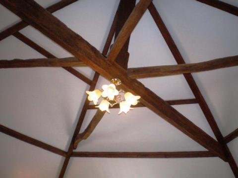 beautiful original beams in the lounge