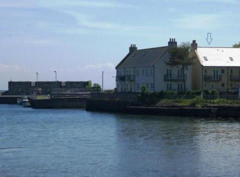 Tide's Reach and the harbour, seen from Garlieston village.