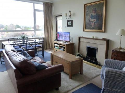 Bright sitting room. Open fireplace. HDTV with Chromecast