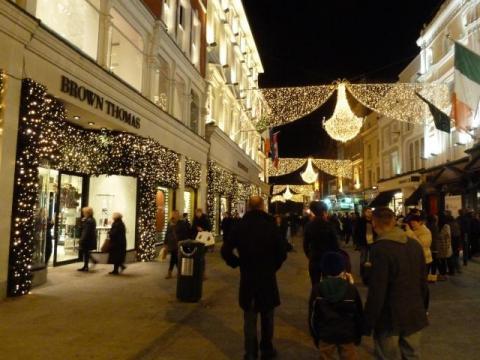Night time shopping in Grafton Street