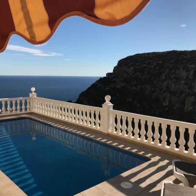 Looking across the heated pool to The Med