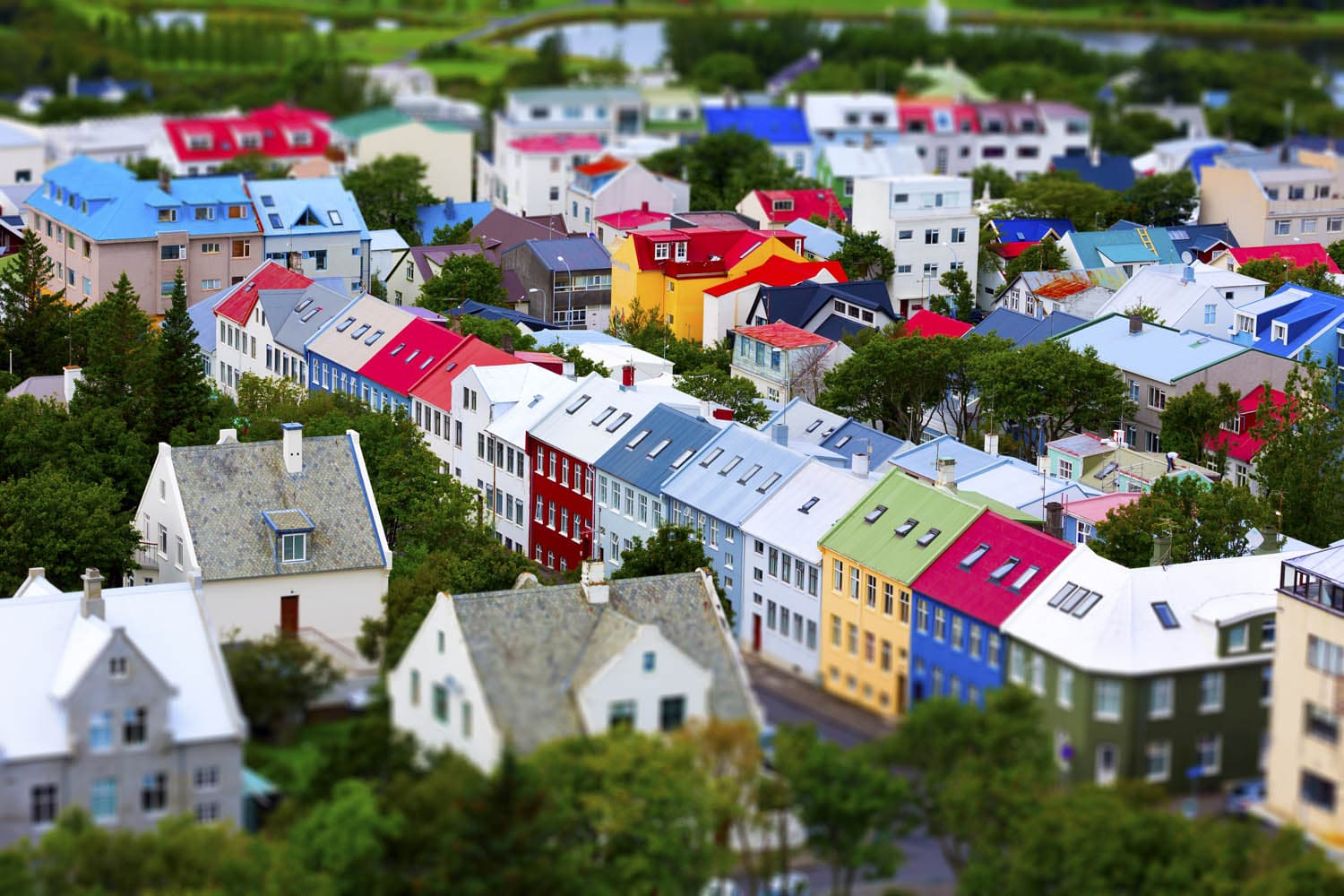 View of the colorful houses of Reykjavik in the summertime
