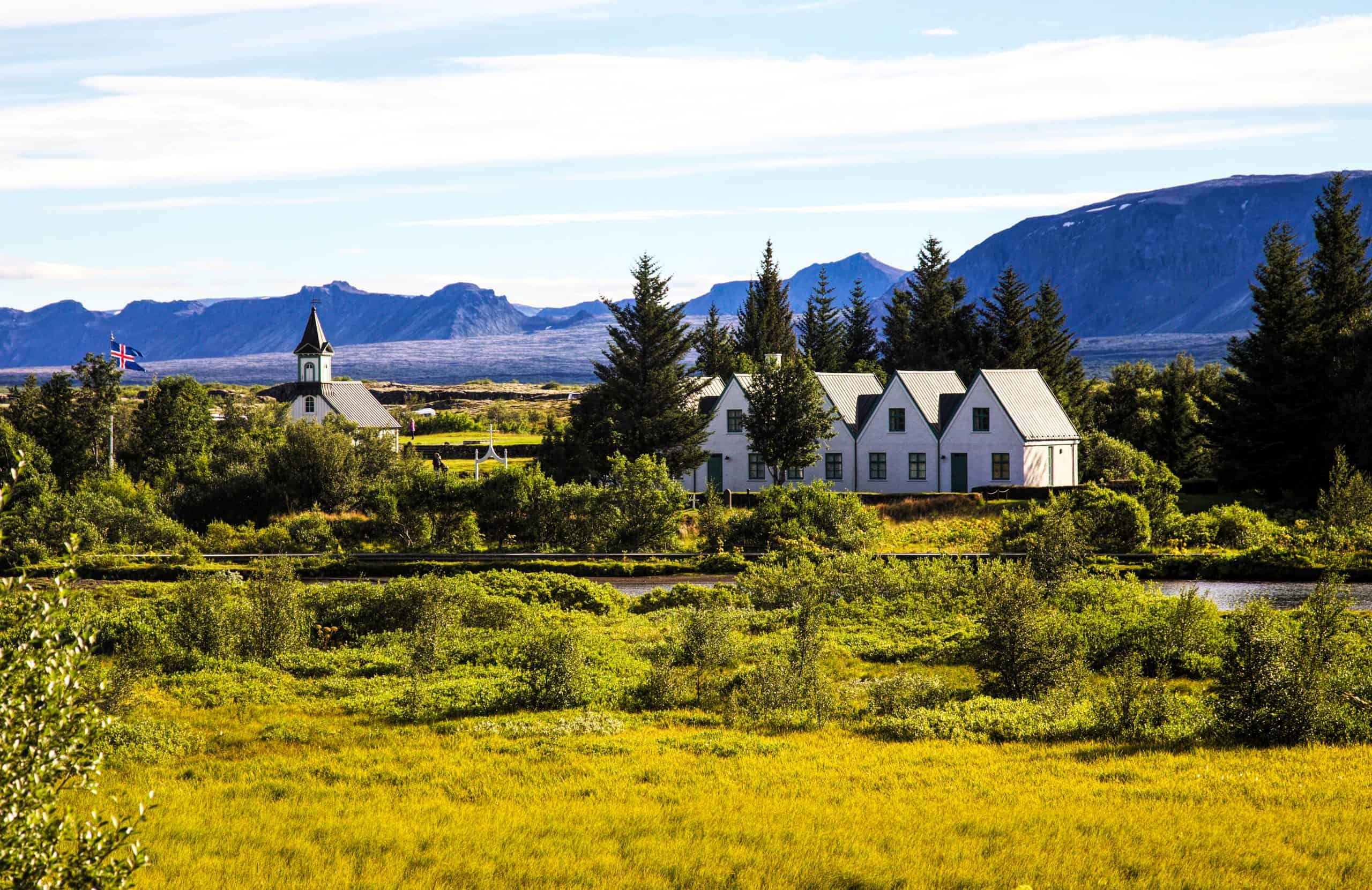 The Church in Thingvellir National Park on the Golden Circle in Iceland