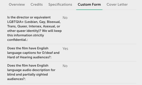SQIFF's custom form on FilmFreeway