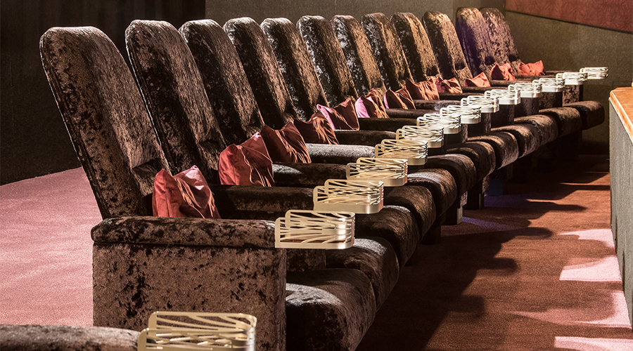 An empty row of seats in a cinema auditorium.