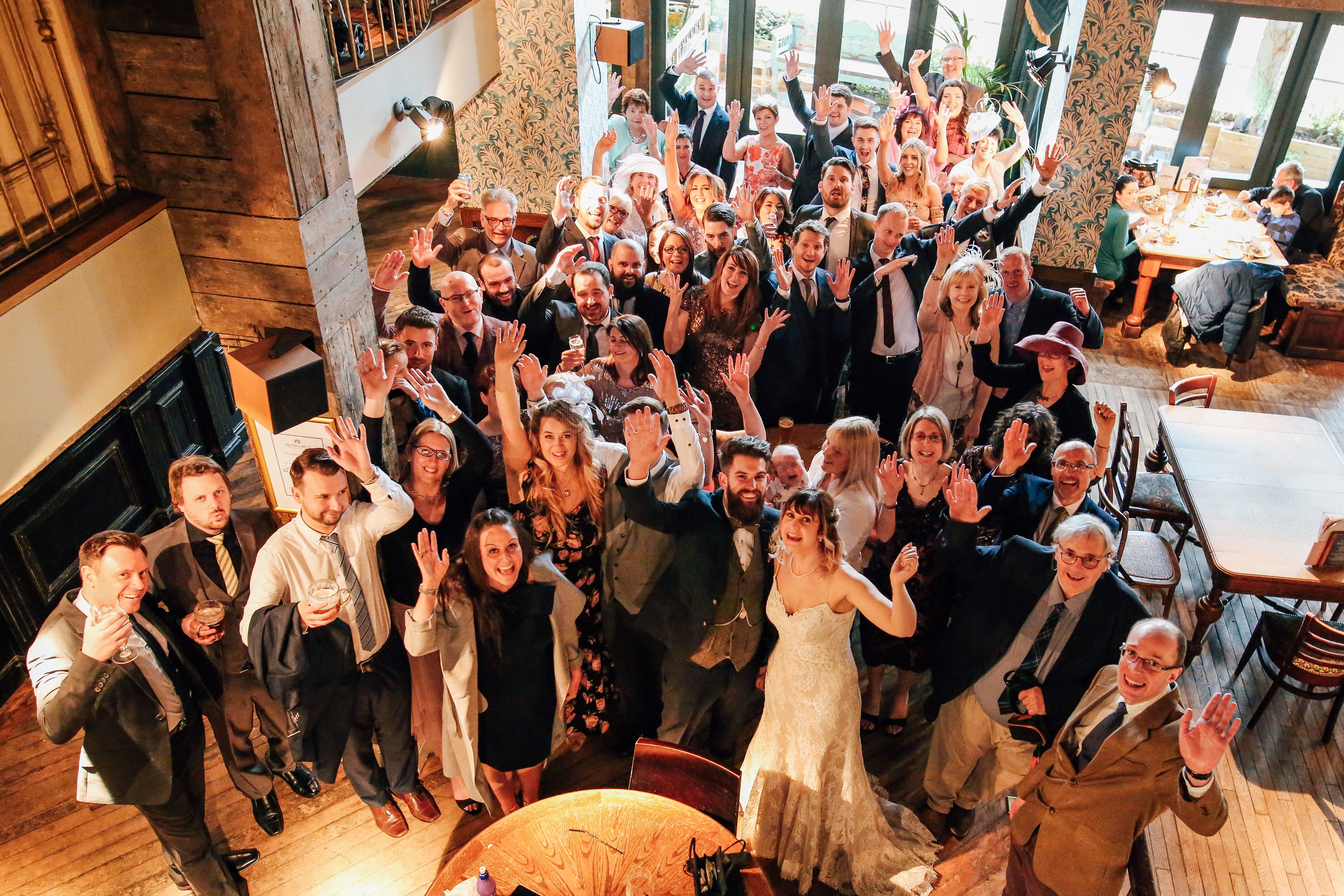 Wedding Party Portrait from above Manchester Photographer As You Like It