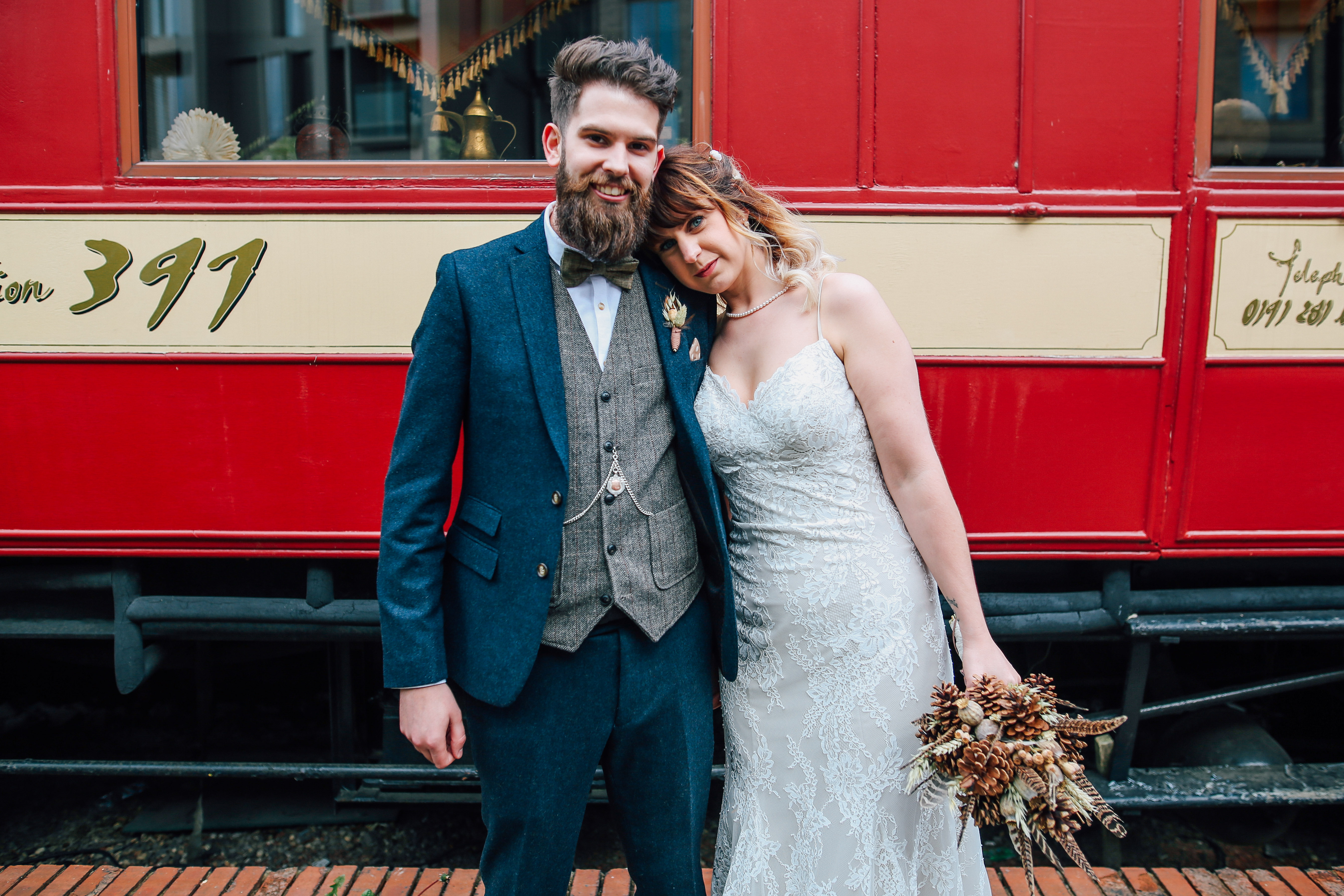 Creative Newcastle Wedding Photography in Front of a Train