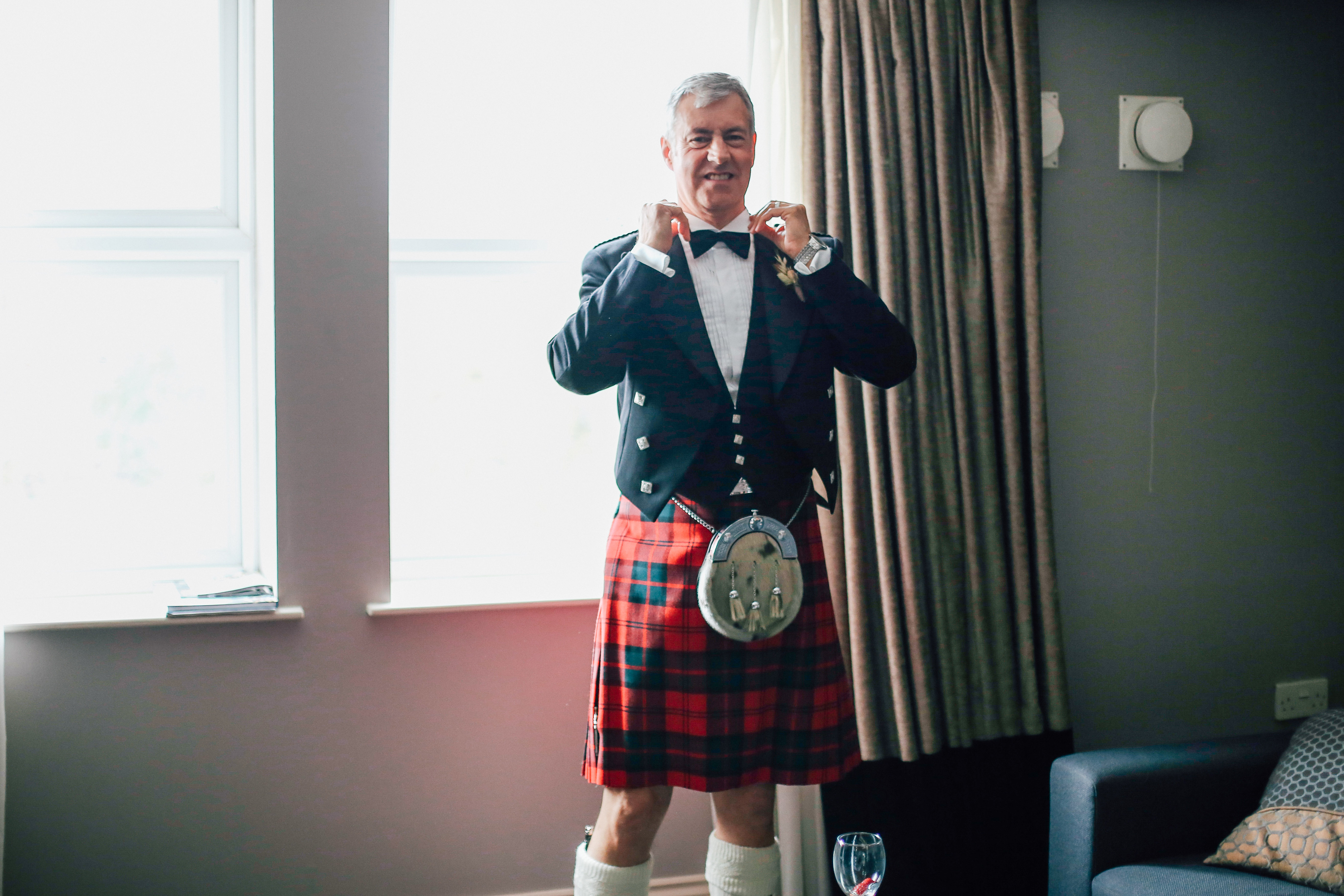 Father of the bride in a kilt Wedding Photographer Manchester