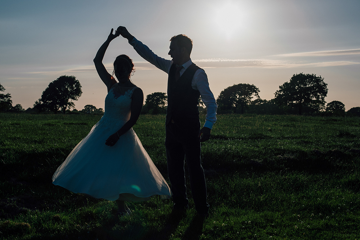 Sunset Silhouette Dance Farm Wedding Liverpool