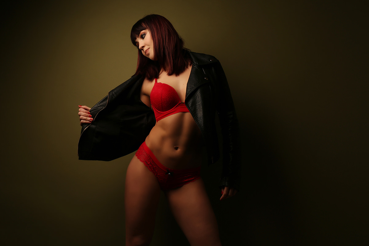 Leather Coat and Red bra Studio Boudoir Photography
