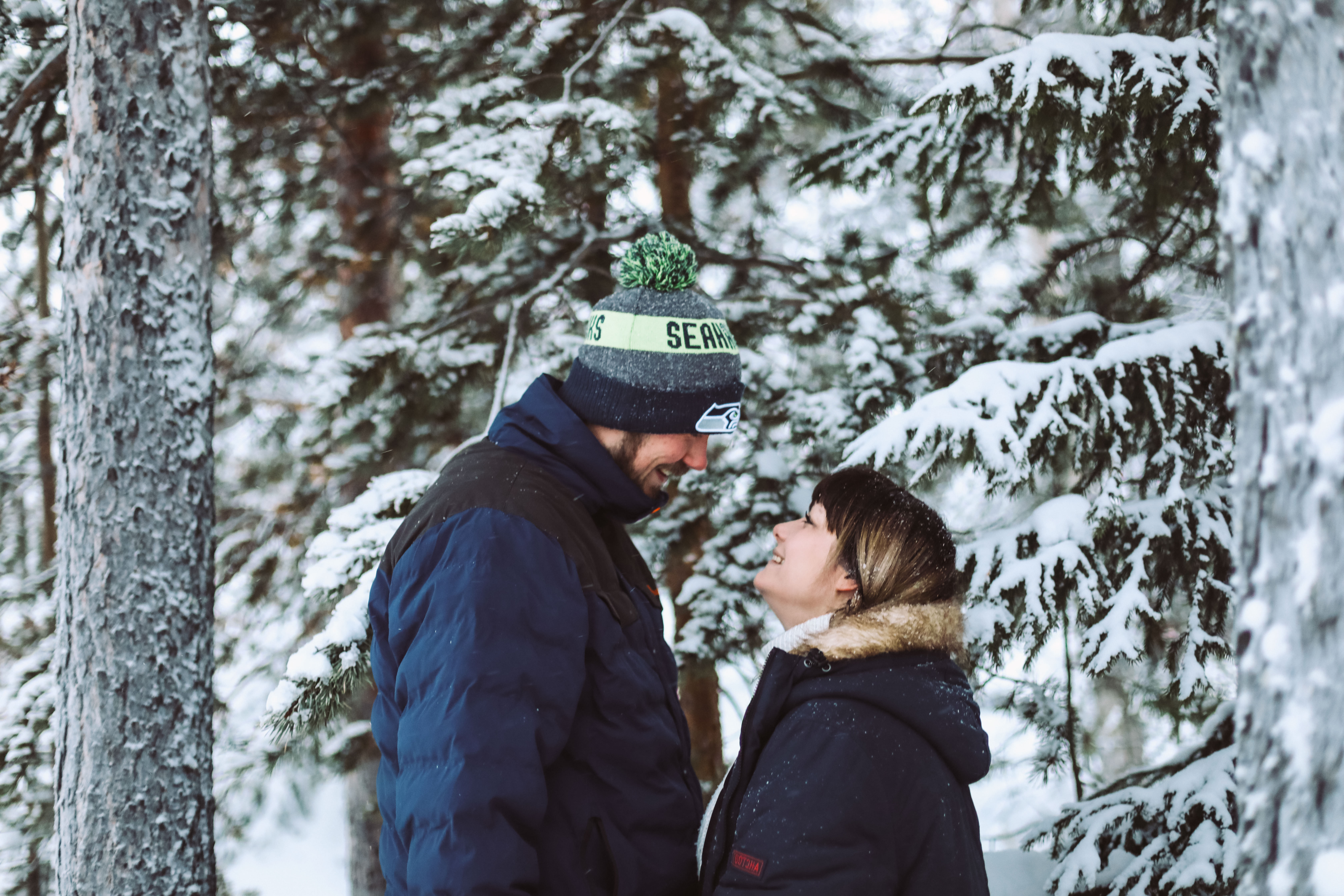 Pre wedding relaxed fun Lapland snow wedding photographers icon photography studios
