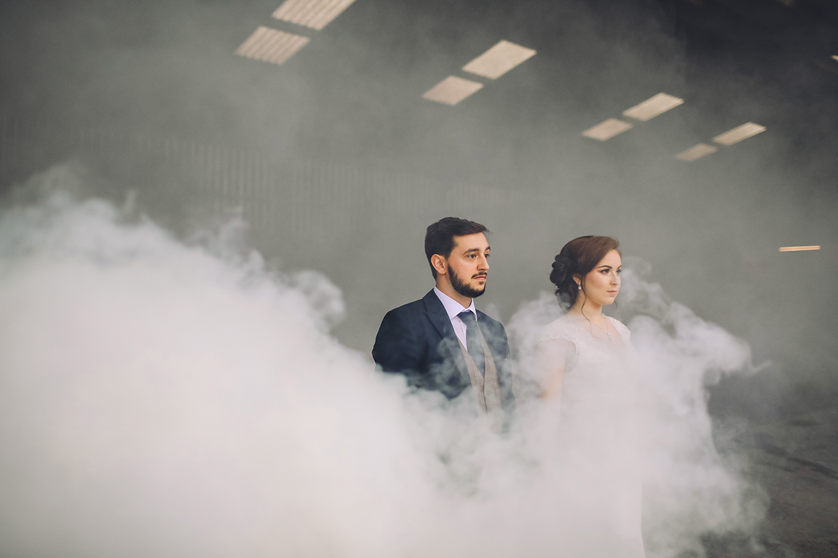 Owen house Barn manchester wedding photography smoke bomb photography