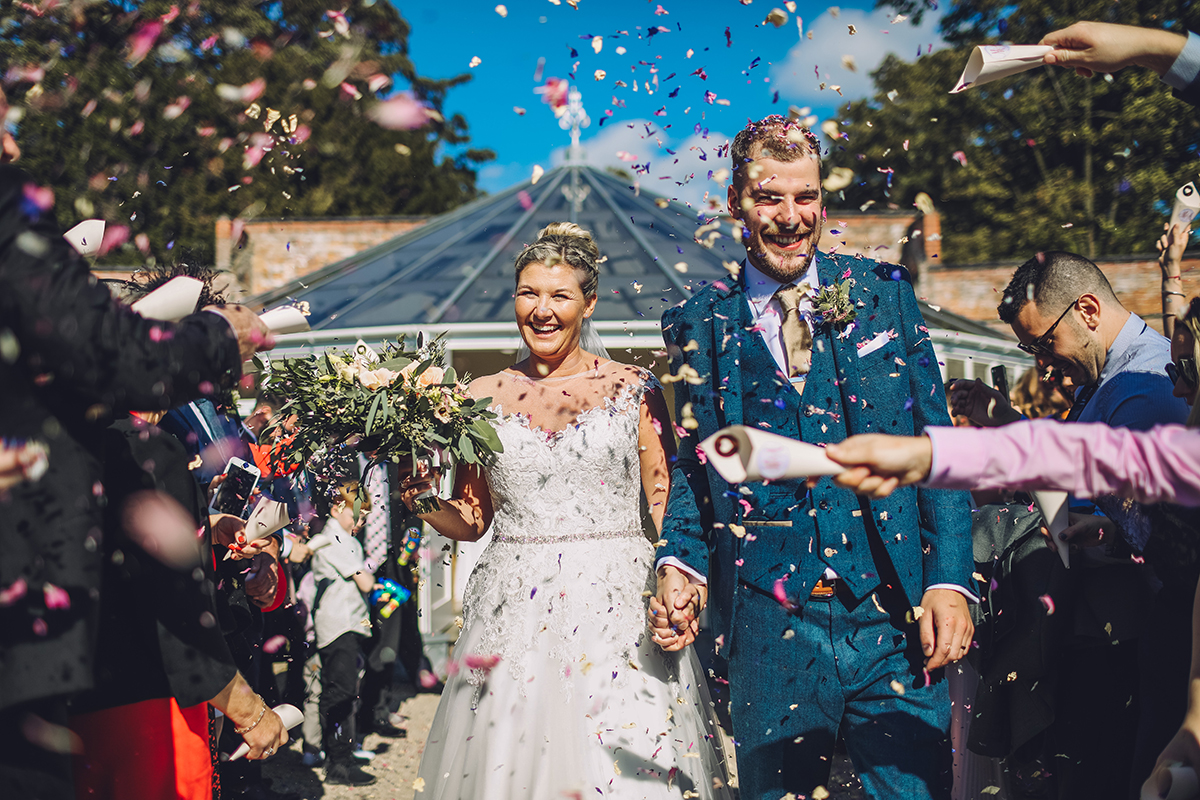 Combermere Abbey wedding | Combermere Abbey wedding photography | Combermere Abbey confetti shot