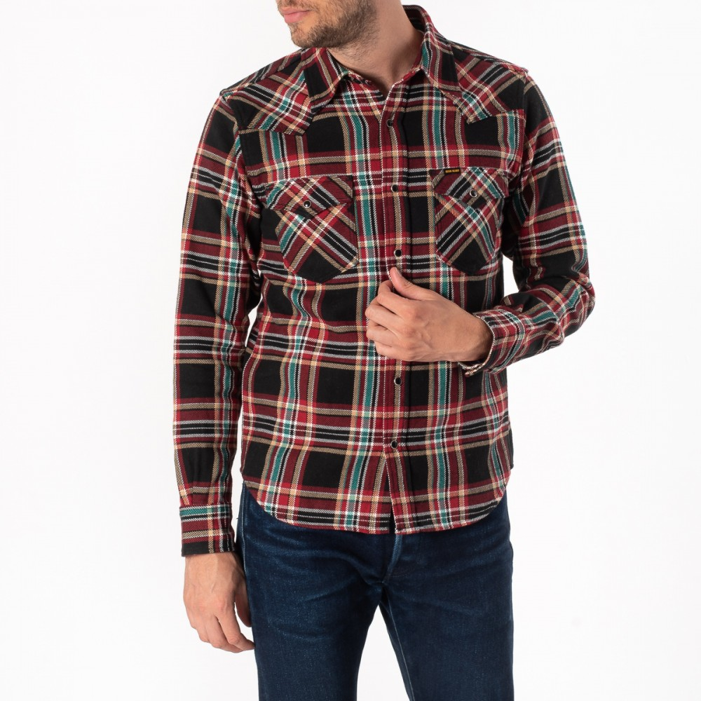 """Black Crazy Check Ultra Heavy Flannel Western Shirt-1822.jpg"""