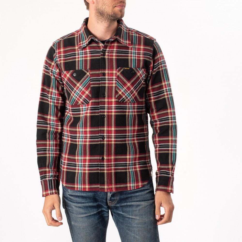 """Black Crazy Check Ultra Heavy Flannel Work Shirt-3904.jpg"""
