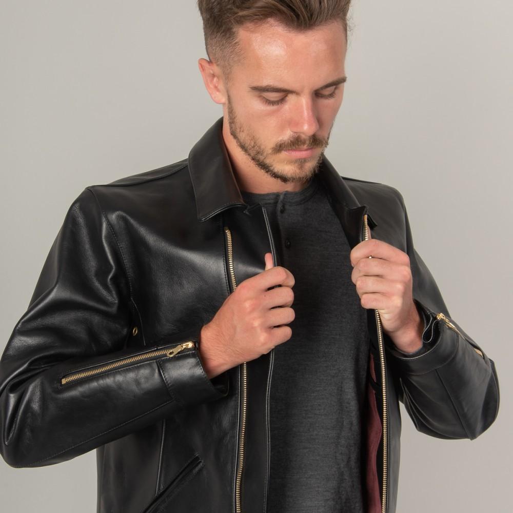 """Nine Lives Black Leather Rider's Jacket--14.jpg"""