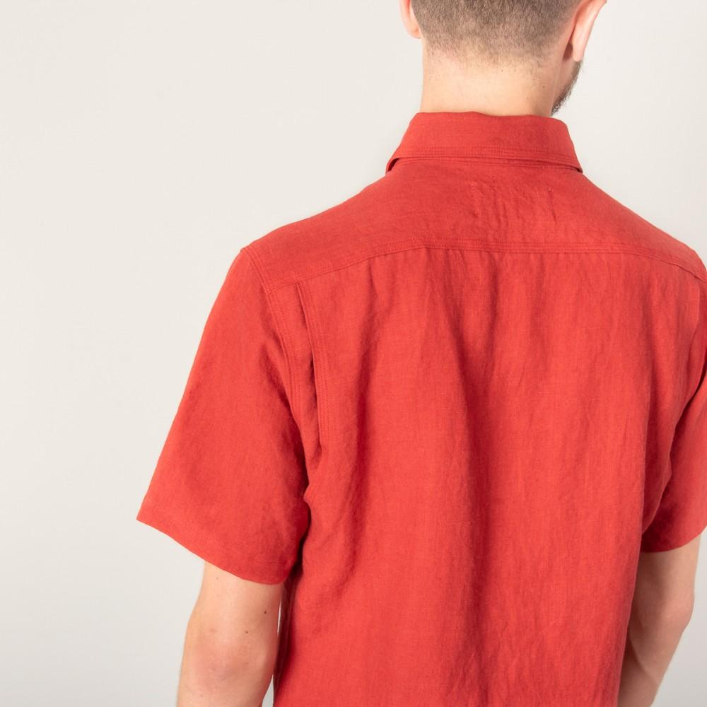 """""""Nine Lives Barn Yard Red Marshall Islander Short Sleeve Linen Shirt-2858.jpg"""""""