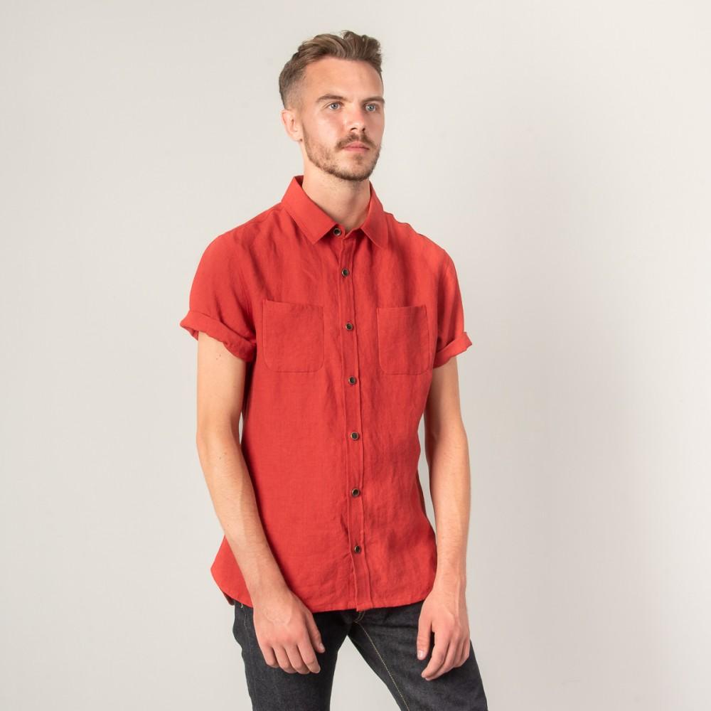"""""""Nine Lives Barn Yard Red Marshall Islander Short Sleeve Linen Shirt-2861.jpg"""""""