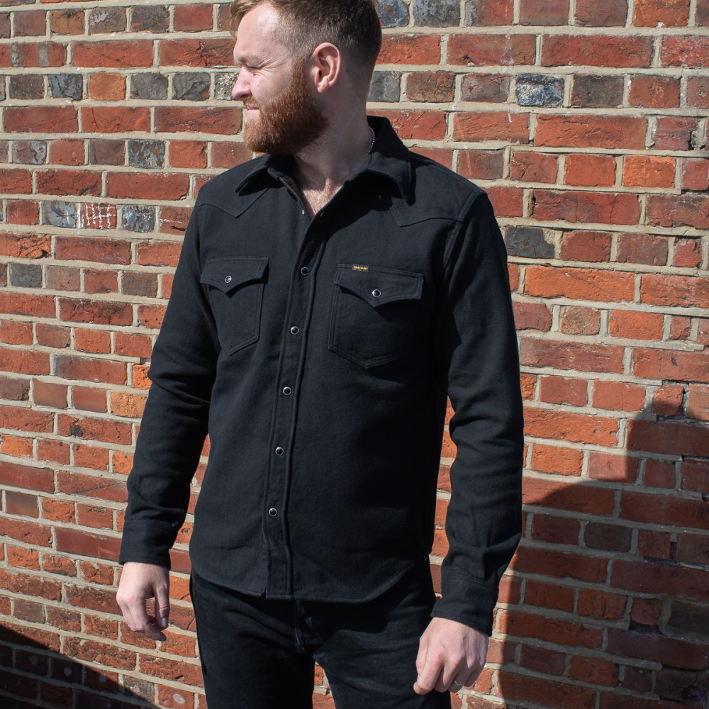 """Ultra Heavy Flannel Herringbone Western Shirt %22The Cozy Cash%22 - Black-25465.jpg"""
