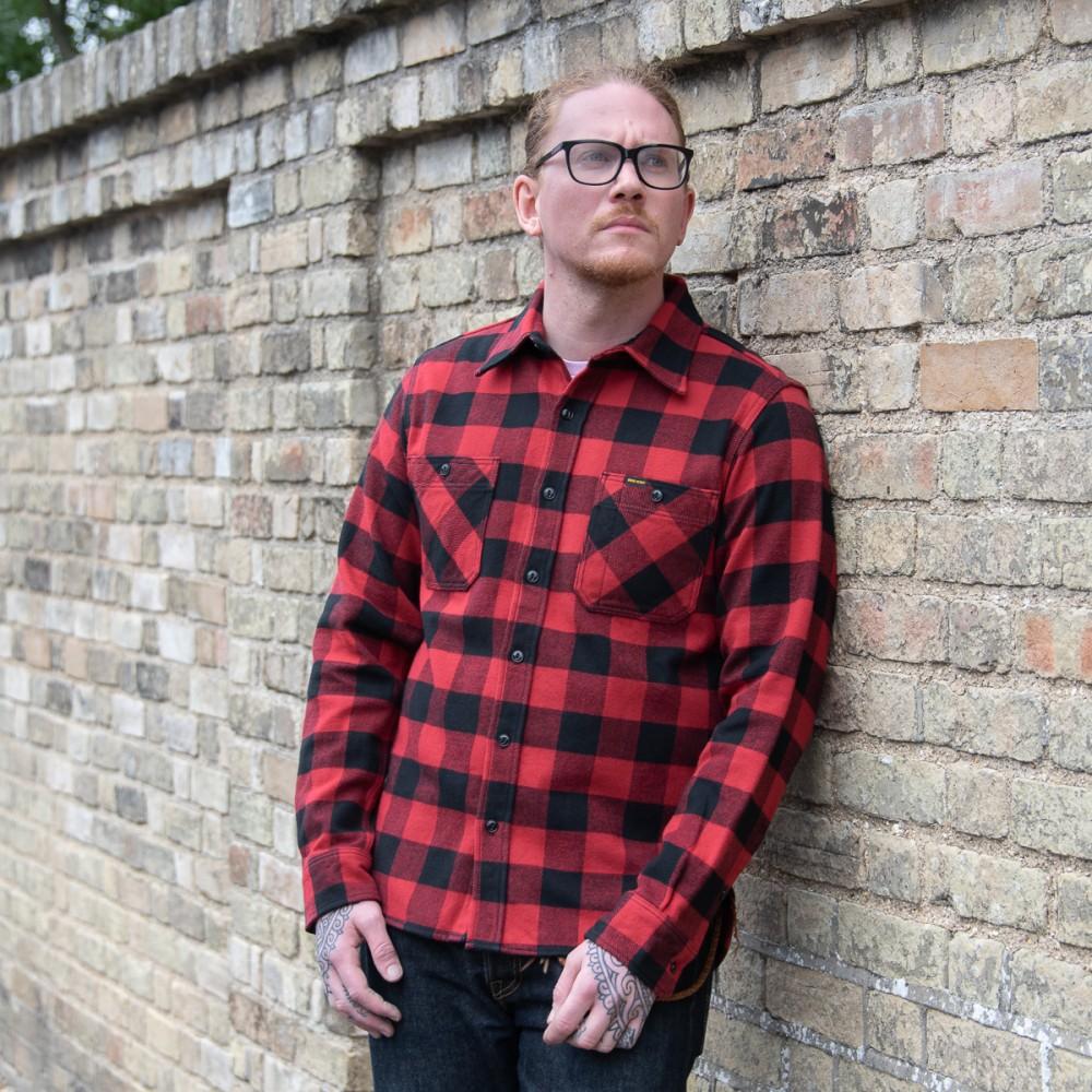 """Ultra Heavy Flannel Buffalo Check Work Shirt - Red-Black-25636.jpg"""