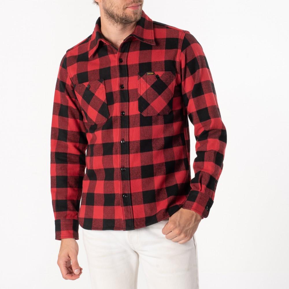 """Ultra Heavy Flannel Buffalo Check Work Shirt - Red-Black-6915.jpg"""