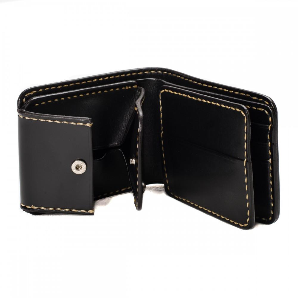 """IHG-02 - Small Shell Cordovan Wallet - Black & Oxblood11.jpg"""