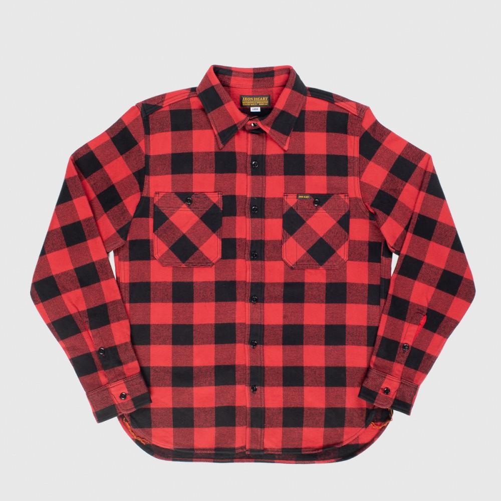 """Ultra Heavy Flannel Buffalo Check Work Shirt - Red-Black-.jpg"""