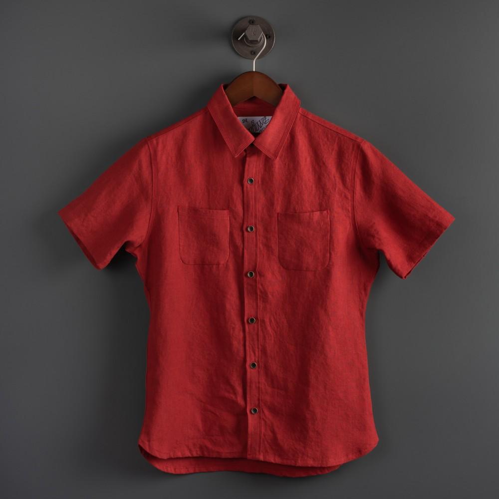 """""""Nine Lives Marshall Islander Belgian Linen Short Sleeve Red Shirt--.jpg"""""""