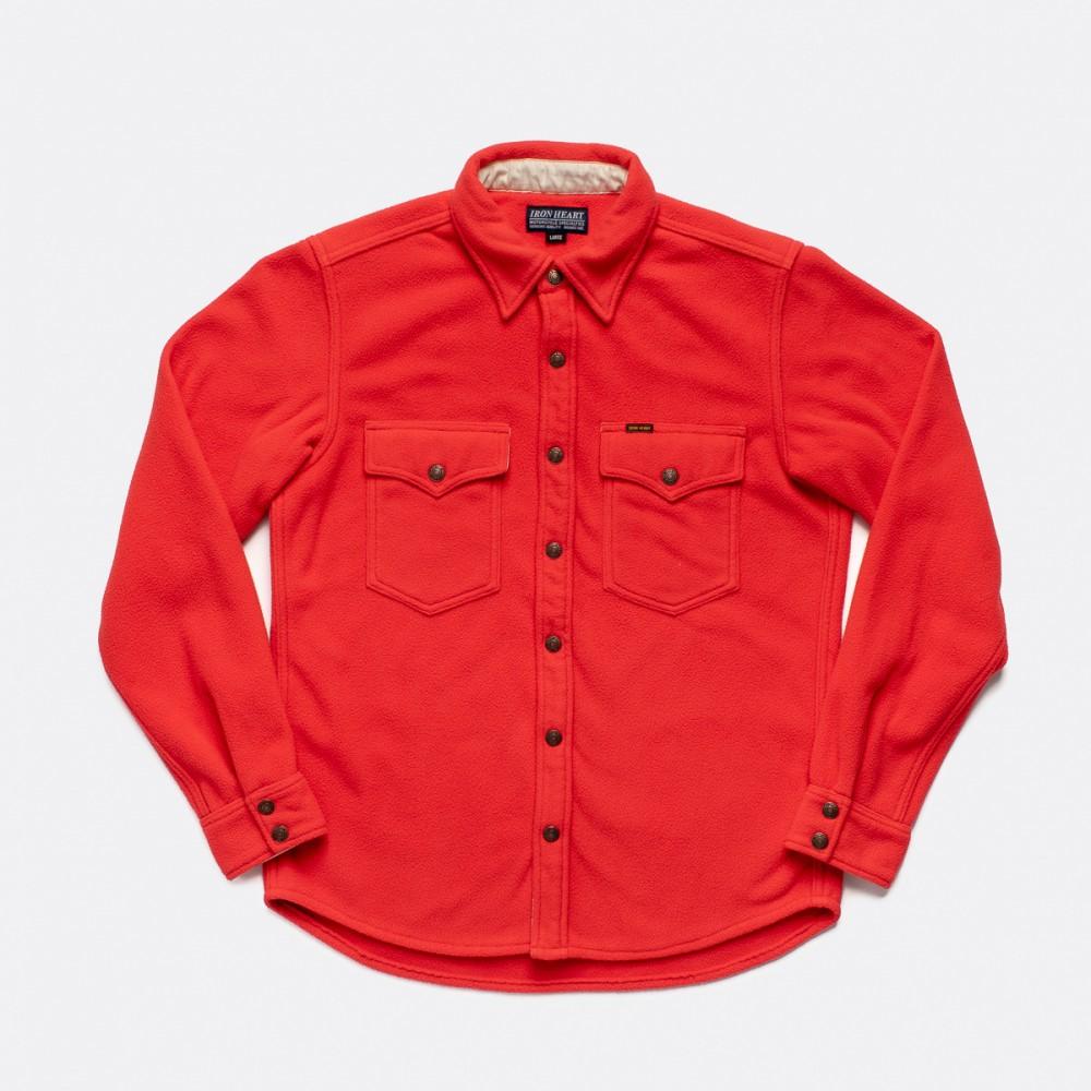 """IHSH-287-RED - Micro Fleece CPO Shirt - Red-.jpg"""