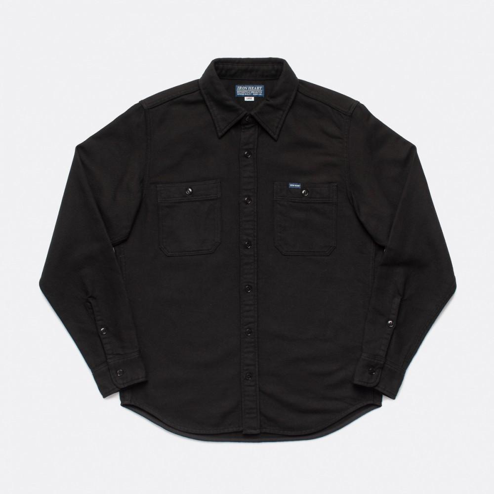 """IHSH-279-BLK - 7oz Soft Flannel Work Shirt - Black-.jpg"""