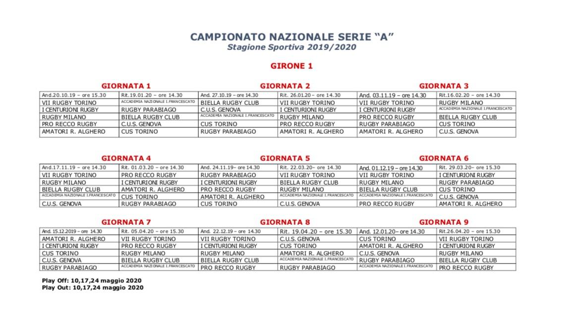 Calendario Serie A 16 Ottobre.Rugby Il Calendario Della Serie A Il 20 Ottobre La Prima