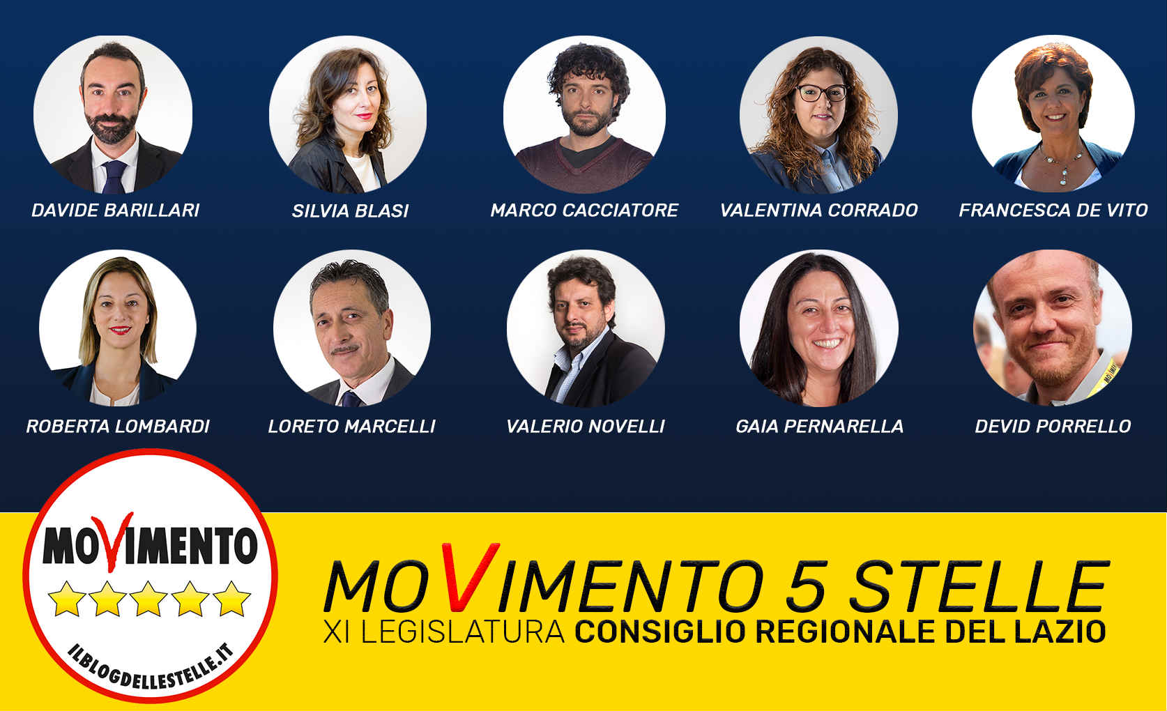 10 nuovi portavoce del movimento 5 stelle in regione lazio for Esponenti movimento 5 stelle