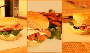 Burger de la mer au saumon et philadelphia