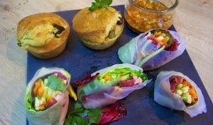 Muffins au chèvre à la provençale et Rouleaux de printemps au magret de canard