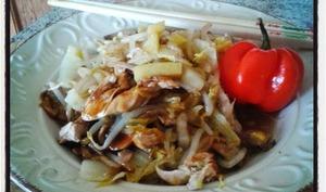 Wok de poulet express à la sauce d'huîtres et au gingembre