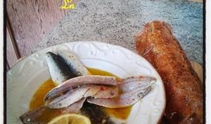 Sardines marinées à l'huile d'olive fleur de sel citron et piment