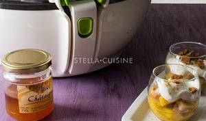 Verrines de poires et mangues caramélisées
