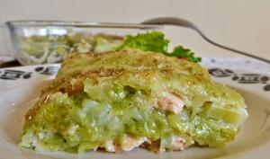 Lasagnes de ravioles au saumon et aux poireaux