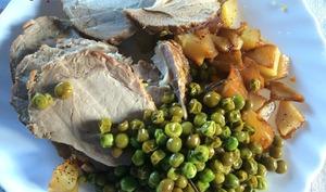 Rôti de porc au romarin et ses légumes