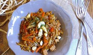 Kasha, tofu fumé, petits légumes et noix de cajou façon biryani