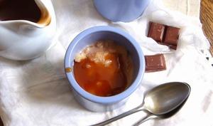 Riz au lait et sauce toffe au chocolat et café