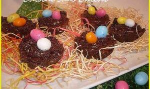 Nids de Pâques à la ganache chocolat carambar.