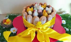 Charlotte de Pâques mousse chocolat et crème mascarpone façon tiramisu