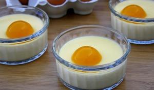 Crème aux oeufs à la coco et sa gelée de mangue en trompe l'oeil