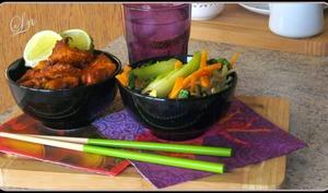 Poulet saté et wok de pak choi carotte et soja