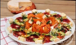 Salade de carottes, avocat, orange et reblochon