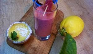 Lemon curd, tartelettes au Lemon Curd et smoothie pour un café gourmand